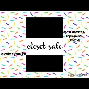 HUGE CLOSET CLEAR OUT SALE most are 3/$25